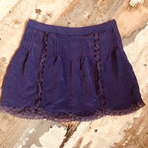100% silk purple polka dot skirt with lace trim